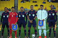 The captains and match officials pose for a group photo before the FIFA Under-20 Football World Cup pool match between New Zealand and Myanmar at Wellington Regional Stadium, Wellington, New Zealand on Friday, 5 June 2015. Photo: Dave Lintott / lintottphoto.co.nz