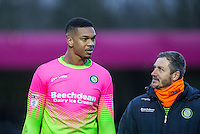 Goalkeeper Jamal Blackman of Wycombe Wanderers talks to Goalkeeper / Coach Barry Richardson of Wycombe Wanderers during the Sky Bet League 2 match between Wycombe Wanderers and Yeovil Town at Adams Park, High Wycombe, England on 14 January 2017. Photo by Andy Rowland / PRiME Media Images.