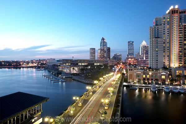 Tampa Florida at dusk viewed from rooftop at Harbour Island.