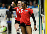 Rüsselsheim, Germany, April 13: Dominique Lamb #2 of the Rote Raben Vilsbiburg celebrates after winning a point during play off Game 1 in the best of three series in the semifinal of the DVL (Deutsche Volleyball-Bundesliga Damen) season 2013/2014 between the VC Wiesbaden and the Rote Raben Vilsbiburg on April 13, 2014 at Grosssporthalle in Rüsselsheim, Germany. Final score 0:3 (Photo by Dirk Markgraf / www.265-images.com) *** Local caption ***
