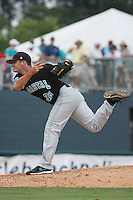 The Coastal Carolina University Chanticleers pitcher Ryan Connolly #38 on the mound during the 2nd and deciding game of the NCAA Super Regional vs. the University of South Carolina Gamecocks on June 13, 2010 at BB&T Coastal Field in Myrtle Beach, SC.  The Gamecocks defeated Coastal Carolina 10-9 to advance to the 2010 NCAA College World Series in Omaha, Nebraska. Photo By Robert Gurganus/Four Seam Images