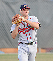 Infielder Kyle Kubitza (10) of the Danville Braves, Appalachian League affiliate of the Atlanta Braves, prior to a game against the Johnson City Cardinals on August 19, 2011, at Howard Johnson Field in Johnson City, Tennessee. Kubitza was Atlanta's third-round pick in the 2011 First-Year Player Draft. Danville defeated Johnson City, 5-4, in 16 innings. (Tom Priddy/Four Seam Images)