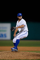 Dunedin Blue Jays relief pitcher Brad Wilson (28) during a Florida State League game against the Jupiter Hammerheads on May 15, 2019 at Jack Russell Memorial Stadium in Clearwater, Florida.  Dunedin defeated Jupiter 8-4 in nine innings, the second game of a doubleheader.  (Mike Janes/Four Seam Images)