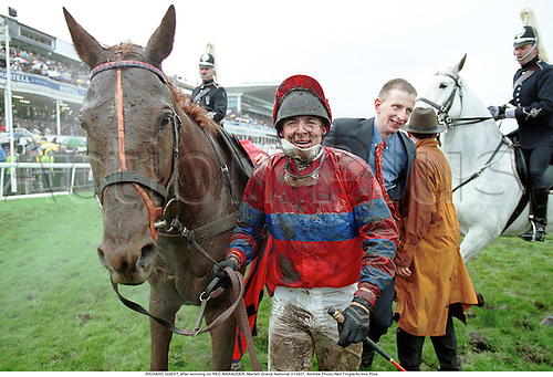 RICHARD GUEST, after winning on RED MARAUDER, Martell Grand National 010407, Aintree Photo:Neil Tingle/Action Plus...2001.national hunt.jumps.horse racing.equestrian sports.jockey jockeys.Winners.Joy.Muddy