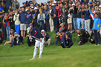 Tiger Woods (Team USA) on the 7th fairway during Friday Fourball at the Ryder Cup, Le Golf National, Iles-de-France, France. 28/09/2018.<br /> Picture Thos Caffrey / Golffile.ie<br /> <br /> All photo usage must carry mandatory copyright credit (© Golffile | Thos Caffrey)
