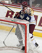 T.J. Tynan (ND - 18), Ryan Fitzgerald (BC - 19) - The visiting University of Notre Dame Fighting Irish defeated the Boston College Eagles 7-2 on Friday, March 14, 2014, in the first game of their Hockey East quarterfinals matchup at Kelley Rink in Conte Forum in Chestnut Hill, Massachusetts.