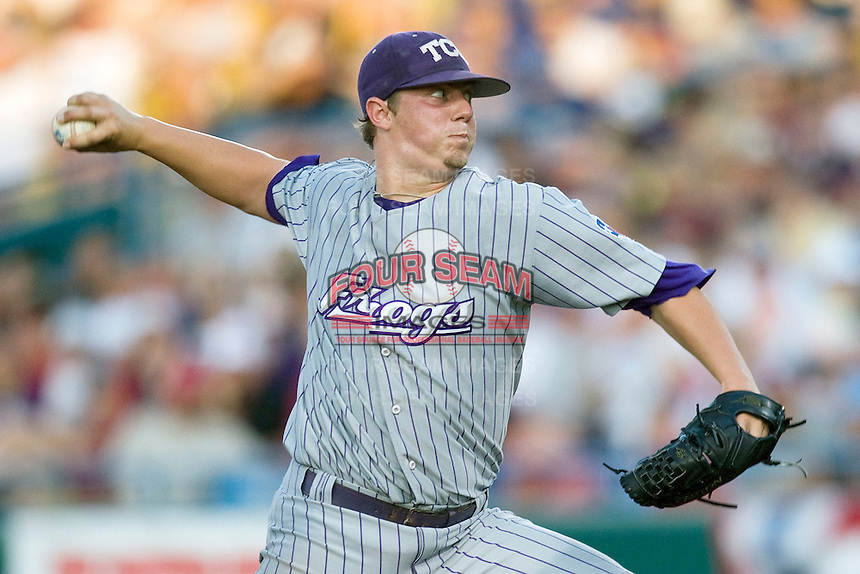 TCU starting pitcher Kyle Winkler in Game 6 of the NCAA Division One Men's College World Series on Monday June 21st, 2010 at Johnny Rosenblatt Stadium in Omaha, Nebraska.  (Photo by Andrew Woolley / Four Seam Images)