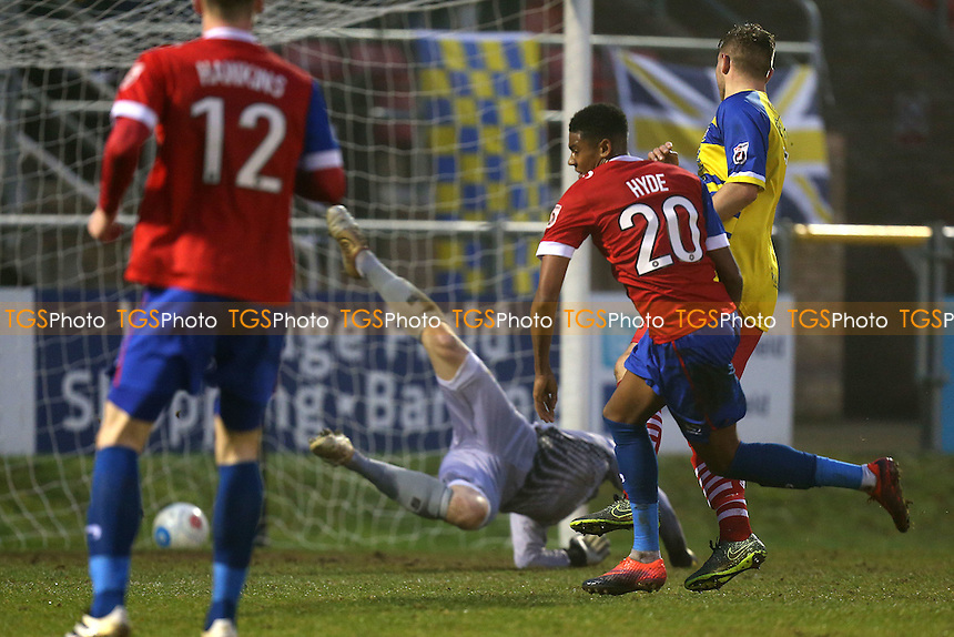 Tyrique Hyde of Dagenham scores the second Daggers goal during Dagenham & Redbridge vs Solihull Moors, Vanarama National League Football at the Chigwell Construction Stadium on 17th December 2016