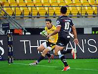 Cory Jane scores during the Super Rugby match between the Hurricanes and Sharks at Westpac Stadium, Wellington, New Zealand on Saturday, 9 May 2015. Photo: Dave Lintott / lintottphoto.co.nz