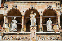 Statue of the Modonna with Child on the  facade of the Romanesque Cathedral of Cremona, begun 1107, with later Gothic, Renaissance & Baroque elements, Cremona, Lombardy, northern Italy