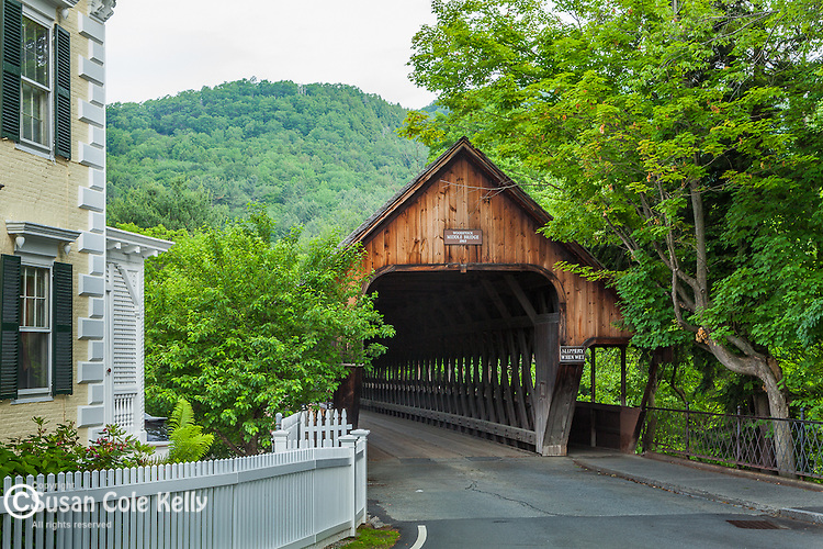 The Middle Bridge spans the Ottaqhechee River in Woodstock, VT, USA