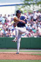 Boston Red Sox pitcher Greg Harris during spring training circa 1992 at Chain of Lakes Park in Winter Haven, Florida.  (MJA/Four Seam Images)