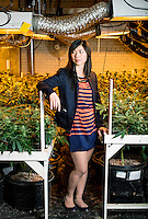 Owner and Principal of Good Meds Network Kristi Kelly (cq) at one of the company's grow houses in Denver, Colorado, Tuesday, December 3, 2013. <br /> <br /> Photo by Matt Nager