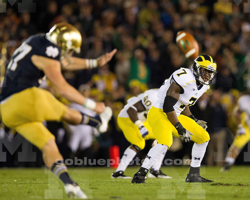 The University of Michigan football team fell to Notre Dame, 13-6, at Notre Dame Stadium in South Bend, Ind., on September 22, 2012.