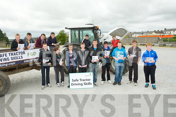 SAFE DRIVING: Young Farmers whp wher introduced to safe driving on tractors on Friday morning at Castleisland Mart sponsered by FBD, Paddy Flynn, James Joy, Aiden Fleming, Freddie Browne, Dara Looney, Moss O'Callaghan, Jack O'Sullivan, Michael; Shine, Colin O'Sullivan,Holly O'Callaghan, Sé Shanahan,Andrew Brosnan, Paul nBrosnan,Jack Flynn and Jack Roche.