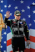 Sept. 6, 2010; Clermont, IN, USA; NHRA funny car driver Paul Lee during driver introductions prior to the U.S. Nationals at O'Reilly Raceway Park at Indianapolis. Mandatory Credit: Mark J. Rebilas-
