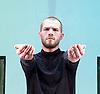 Burning Doors<br /> Belarus Free Theatre at The Soho Theatre, London, Great Britain <br /> press photocall <br /> 1st September 2016 <br /> <br /> <br /> Kiryl Kanstantsinau<br /> <br /> <br /> Photograph by Elliott Franks <br /> Image licensed to Elliott Franks Photography Services