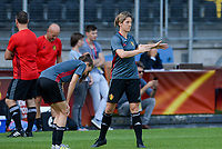 20170719 - BREDA , NETHERLANDS :  Belgian Tessa Wullaert and Aline Zeler (r) pictured during Matchday -1 training session of the Belgian national women's soccer team Red Flames on the pitch of NAC BREDA , on wednesday 19 July 2017 in stadion Rat Verlegh in Breda . The Red Flames are at the Women's European Championship 2017 in the Netherlands. PHOTO SPORTPIX.BE | DAVID CATRY