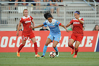 Boyds, MD -Saturday August 26, 2017: Tori Huster, Christen Press, Whitney Church during a regular season National Women's Soccer League (NWSL) match between the Washington Spirit and the Chicago Red Stars at Maureen Hendricks Field, Maryland SoccerPlex.