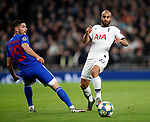 Tottenham's Lucas Moura tussles with Olympiakos Giorgos Masouras during the UEFA Champions League match at the Tottenham Hotspur Stadium, London. Picture date: 26th November 2019. Picture credit should read: David Klein/Sportimage