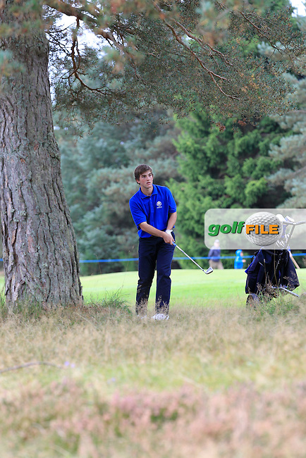 Bradley Burns (SCO) on the 18th hole during Day 2 Singles for the Junior Ryder Cup 2014 at Blairgowrie Golf Club on Tuesday 23rd September 2014.<br /> Picture:  Thos Caffrey / www.golffile.ie