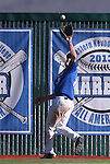 Wildcats' Bradley Lewis makes a catch at the fence during a college baseball game against Salt Lake Community College at Western Nevada College in Carson City, Nev., on Thursday, March 5, 2015. <br /> Photo by Cathleen Allison/Nevada Photo Source