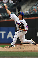 New York Mets pitcher Ryota Igarashi #18 during a game against the Washington Nationals at Citi Field on September 15, 2011 in Queens, NY.  Nationals defeated Mets11-1.  Tomasso DeRosa/Four Seam Images