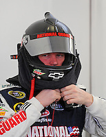 Feb. 28, 2009; Las Vegas, NV, USA; NASCAR Sprint Cup Series driver Dale Earnhardt Jr during practice for the Shelby 427 at Las Vegas Motor Speedway. Mandatory Credit: Mark J. Rebilas-