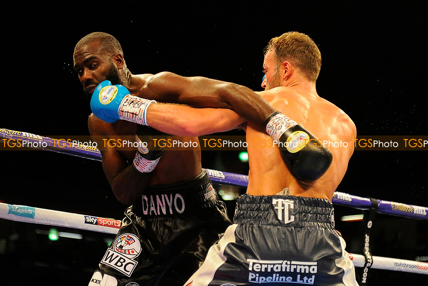 Felix Cash (silver shorts) defeats Stephen Danyo during a Boxing Show at the Copper Box Arena on 27th October 2018