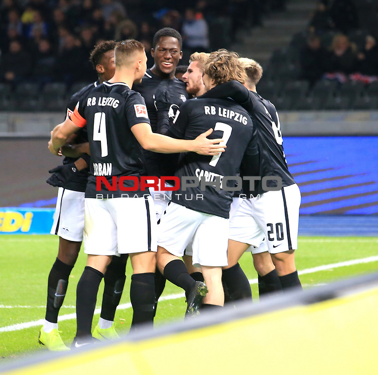 03.11.2018, OLympiastadion, Berlin, GER, DFL, 1.FBL, Hertha BSC VS. RB Leipzig, <br /> DFL  regulations prohibit any use of photographs as image sequences and/or quasi-video<br /> <br /> im Bild 0: 1 durch Timo Werner (RB Leipzig #11),)<br /> <br />       <br /> Foto &copy; nordphoto / Engler