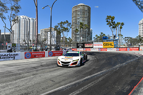 2017 IMSA WeatherTech SportsCar Championship<br /> BUBBA burger Sports Car Grand Prix at Long Beach<br /> Streets of Long Beach, CA USA<br /> Saturday 8 April 2017<br /> 93, Acura, Acura NSX, GTD, Andy Lally, Katherine Legge<br /> World Copyright: Richard Dole/LAT Images<br /> ref: Digital Image RD_LB17_333