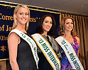 """December 20, 2013, Tokyo, Japan - 2013 Miss International beauty pageant winners knock the members of the foreign media out with their million dollar smiles as they appear before them in a news conference t Tokyo's Foreign Correspondents' Club of Japan on Friday, December 20, 2013. They are, from left: second runner-up Casey Radley of New Zealand; 2013 Miss International, Bea Rose Santiago of the Philippines and first runner-up Nathalie den Dekker of the Netherlands. The trio was in town as """"Goodwill Ambassadors of Beauty.""""  (Photo by Natsuki Sakai/AFLO)"""