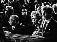 07 Dec 1967, Manhattan, New York City, New York State, USA --- Senator Robert F. Kennedy and other Kennedy family members at the funeral for Cardinal Francis Joseph Spellman in St. Patrick's Cathedral. Spellman was ordained in 1916 and became Archbishop of New York in 1939. --- Image by © JP Laffont