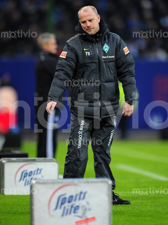 FUSSBALL   1. BUNDESLIGA   SAISON 2010/2010   23. Spieltag Hamburger SV - SV Werder Bremen                         19.02.2011 Trainer Thomas SCHAAF (Bremen) an der Seitenlnie