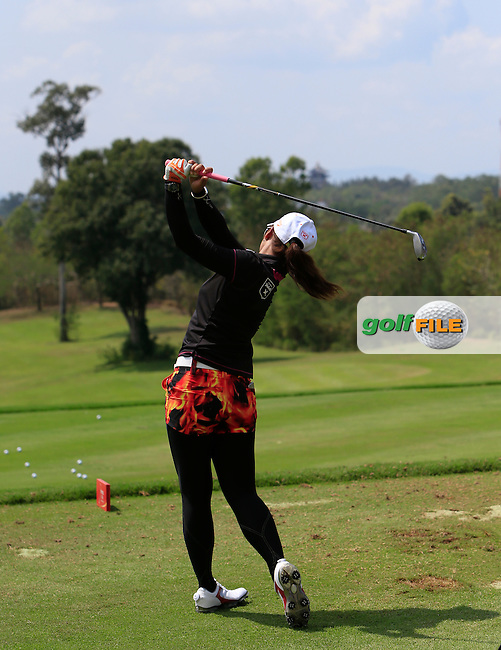 Pornanong Phatlum (THA) on the driving range during the Tuesday Practice Day of the Honda LPGA at the Siam Country Club Old Course in Pattaya on Tuesday 24th February 2015.<br /> Picture:  Thos Caffrey / www.golffile.ie