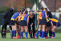 pre match team talk duringUpminster HC Ladies vs Holcombe HC Ladies 1A, East Region League Field Hockey at the Coopers Company and Coborn School on 11th November 2017