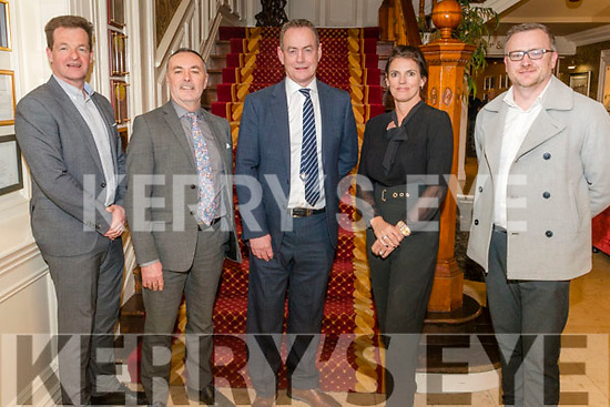 Reval 2021- Revaluation of Kerry Business Rates meeting in the International Hotel, Killarney last Thursday. Pictured are l-r Donal Culloty (Coyne & Culloty Auctioneers), John O'Sullivan ( Commissioner of Evaluation), Declan Lavelle (Head of Valuation Services), Tracy Coyne (General Manager of International Hotel) and Ken Tobin (Chief Executive of Tralee Chamber).