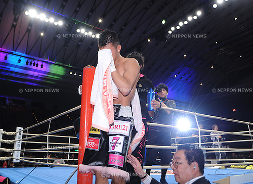 Koki Kameda (JPN),.APRIL 7, 2013 - Boxing :.Koki Kameda of Japan cries as he leaves the ring after the WBA bantamweight title bout at Bodymaker Colosseum (Osaka Prefectural Gymnasium) in Osaka, Japan. (Photo by Mikio Nakai/AFLO)
