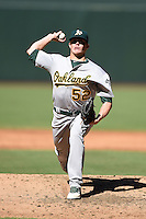 Oakland Athletics pitcher Brett Graves (52) during an Instructional League game against the Arizona Diamondbacks on October 10, 2014 at Chase Field in Phoenix, Arizona.  (Mike Janes/Four Seam Images)