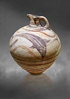 Large Minoan polychrome jug decorated with dolphins, Akrotiri, Thira (Santorini) National Archaeological Museum Athens. 17th-16th cent BC.<br /> <br /> The illustrated dolphins on this jug are swimming happily in a marine scape, by the same painter as the 'Galloping Lions' jug