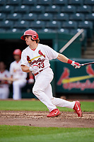 Springfield Cardinals catcher Jesse Jenner (43) follows through on a swing during a game against the San Antonio Missions on June 4, 2017 at Hammons Field in Springfield, Missouri.  San Antonio defeated Springfield 6-1.  (Mike Janes/Four Seam Images)