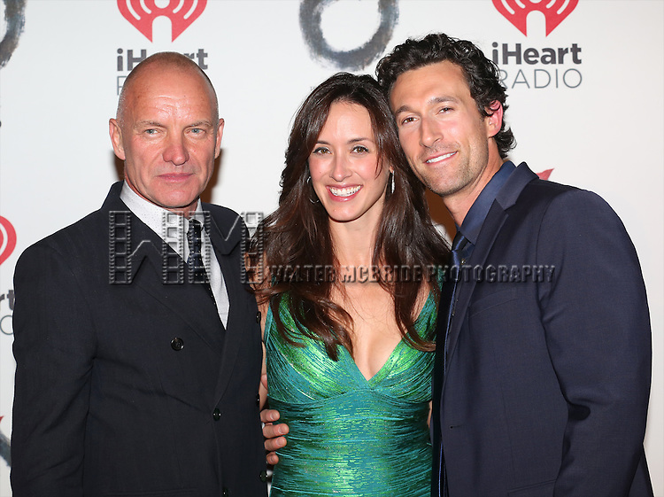 Sting, Aaron Lazar and his wife Leanne attends the Broadway Opening Night After Party for 'The Last Ship' at Pier 60 on October 26, 2014 in New York City.