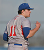 Ryan Baumann #11, Bellport pitcher, reacts after striking out the side in the bottom of the seventh inning of a Suffolk County varsity baseball game against host West Islip High School on Wednesday, April 12, 2017. He pitched a complete game and struck out 13 batters in Bellport's 6-2 win.