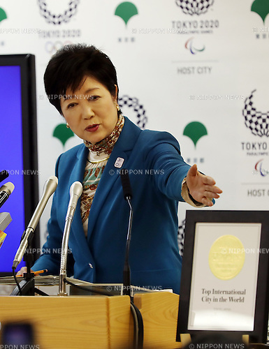 January 20, 2017, Tokyo, Japan - Tokyo Governor Yuriko Koike displays a certification paper as Tokyo is the Top International City in the World by U.S. travel magazine at a press conference at the Tokyo Metropolitan Government office in Tokyo on Friday, January 20, 2017. Tokyo and Kyoto have been selected as the worlds best and second-best cities outside the United States by the U.S. travel magazine Conde Nast Traveler.   (Photo by Yoshio Tsunoda/AFLO) LWX -ytd-