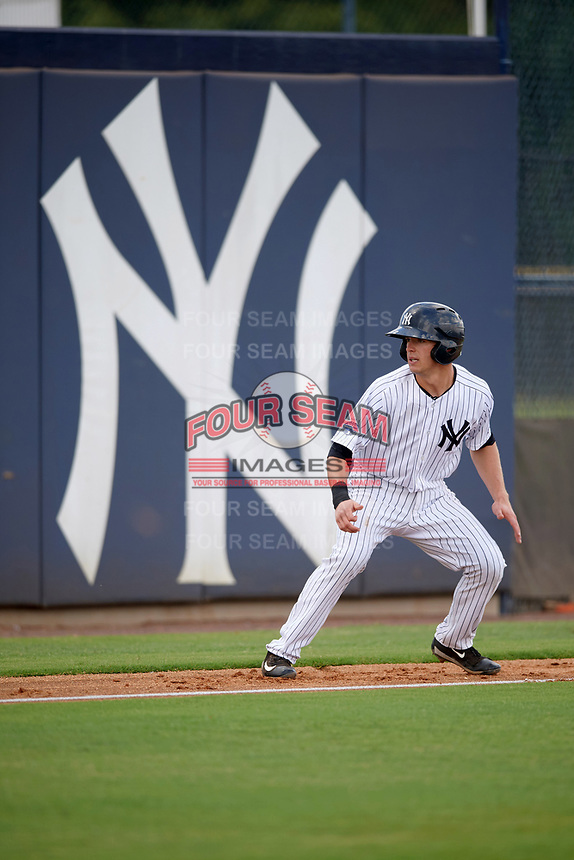 New York Yankees second baseman Nick Solak (2) leads off third base during an Instructional League game against the Pittsburgh Pirates on September 29, 2017 at the Yankees Minor League Complex in Tampa, Florida.  (Mike Janes/Four Seam Images)