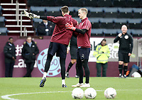Burnley's Nick Pope is greeted by Joe Hart during the pre-match warm-up <br /> <br /> Photographer Rich Linley/CameraSport<br /> <br /> Emirates FA Cup Third Round - Burnley v Barnsley - Saturday 5th January 2019 - Turf Moor - Burnley<br />  <br /> World Copyright &copy; 2019 CameraSport. All rights reserved. 43 Linden Ave. Countesthorpe. Leicester. England. LE8 5PG - Tel: +44 (0) 116 277 4147 - admin@camerasport.com - www.camerasport.com