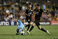 1st November 2019; Leichhardt Oval, Sydney, New South Wales, Australia; A League Football, Sydney Football Club versus Newcastle Jets; Milos Ninkovic of Sydney stretches for the ball as Matthew Millar of Newcastle Jets challenges - Editorial Use