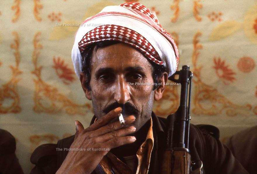 Iran 1979.Portrait of a peshmerga in Ziweh