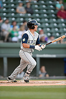 First baseman Jeremy Vazquez (20) of the Columbia Fireflies bats in a game against the Greenville Drive on Wednesday, April 18, 2018, at Fluor Field at the West End in Greenville, South Carolina. Columbia won 8-4. (Tom Priddy/Four Seam Images)
