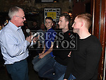 Gerry Kelly interviews players Thomas Byrne, Luke Gallagher and Stephen Dunne at the Drogheda United meet and greet night in Mother Hughes's. Photo:Colin Bell/pressphotos.ie